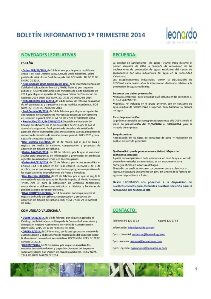Boletín informativo (1/3)